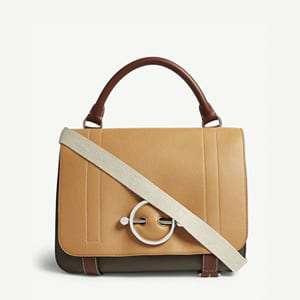 Disc leather satchel
