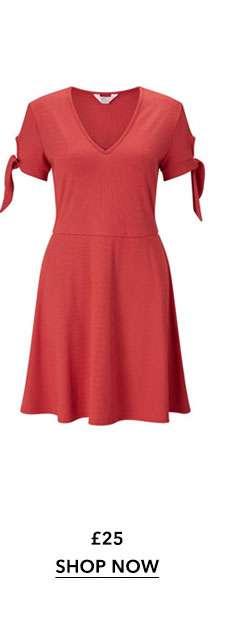 PETITE Rust Jersey Tie Sleeve Dress