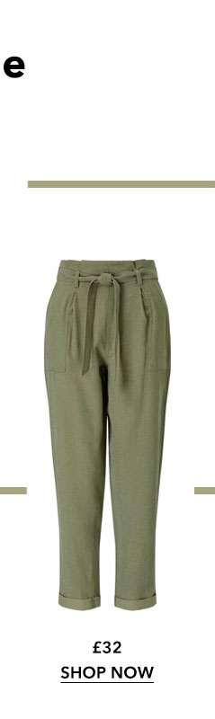 Khaki Tencel Paperbag Trousers