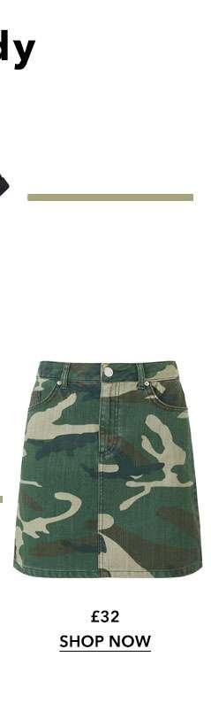 Camouflage Denim Mini Skirt