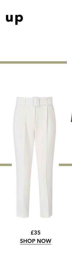 Ivory High Waist Belted Trousers