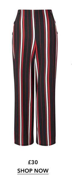 PETITE Stripe Buttoned Full Length Trousers