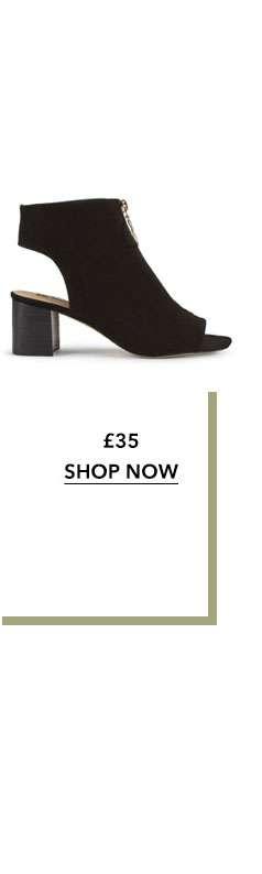 Black AVA Zip Front Peep Toe Boots