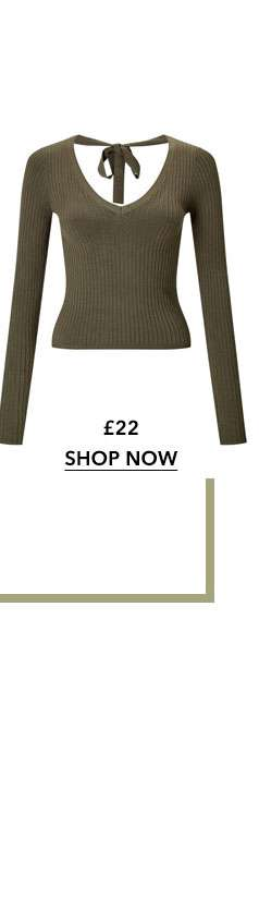 Khaki Tie Back Ribbed Knitted Top