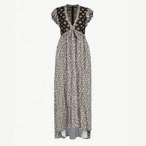 Metallic floral-print crepe maxi dress
