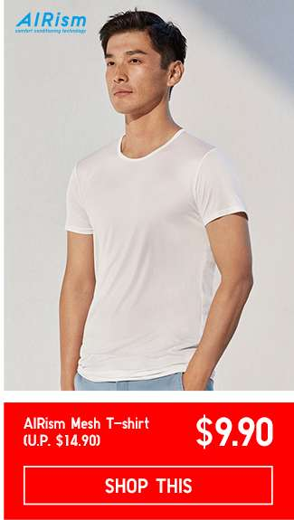 Men's AIRism Mesh T-shirt at $9.90