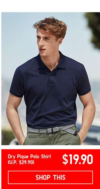 Men's Dry Pique Polo Shirt at $19.90