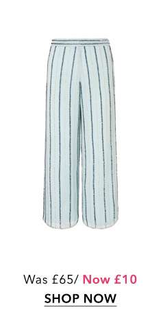 Pale Blue Embellished Cropped Wide Leg Trousers