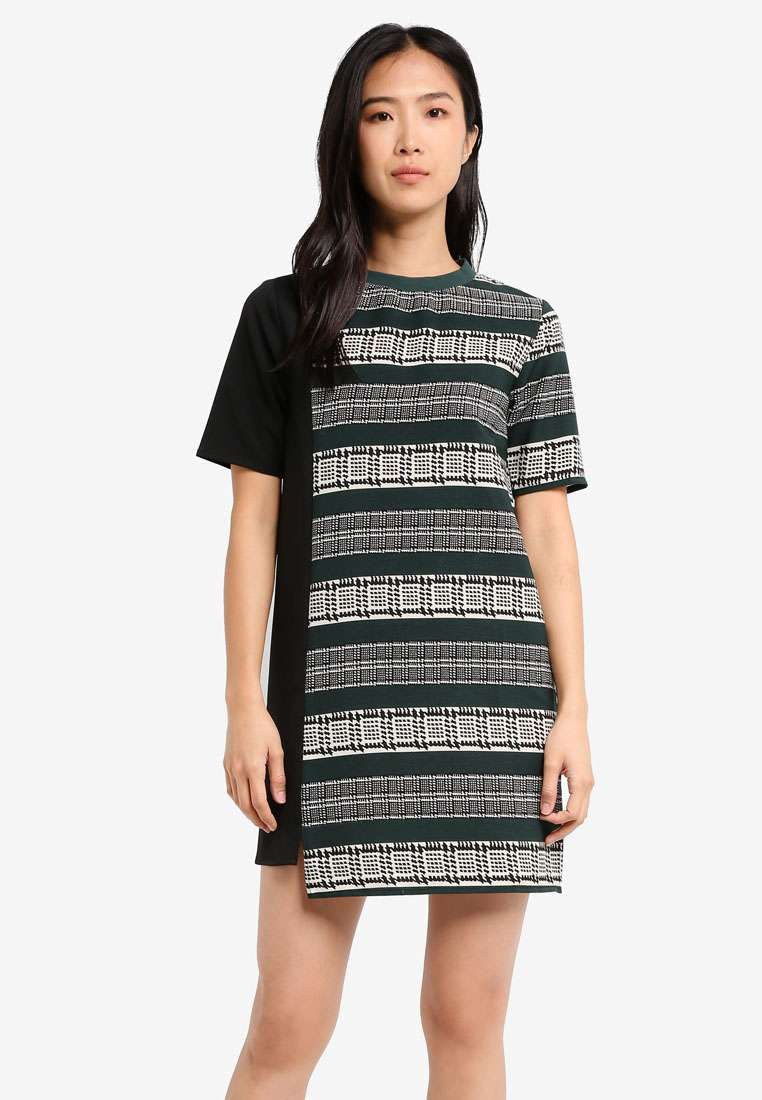 Contrast Panel Shift Dress