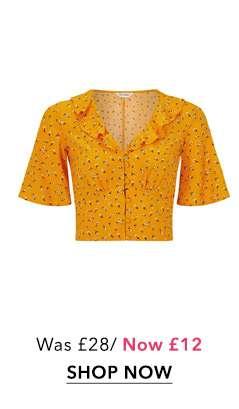 Orange Ditsy Print Angel Sleeve Crop Top