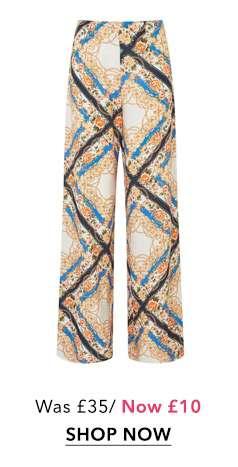 Chain Print Wide Leg Trousers