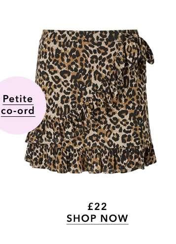 PETITE Leopard Flippy Skirt