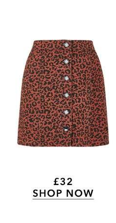 Leopard Print Denim Skirt