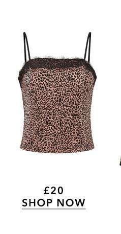 Animal Print Lace Trim Camisole Top