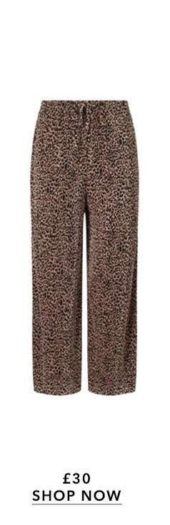 Animal Print Plisse Cropped Trousers