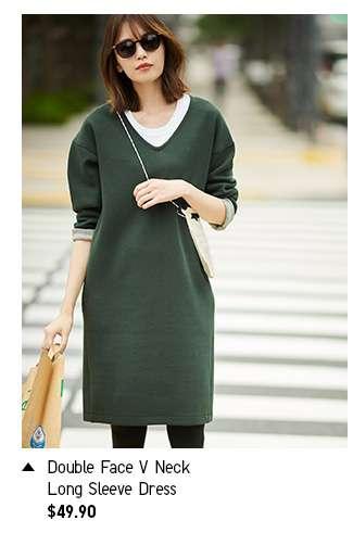 Shop Women's Double Face V Neck Long Sleeve Dress at $49.90