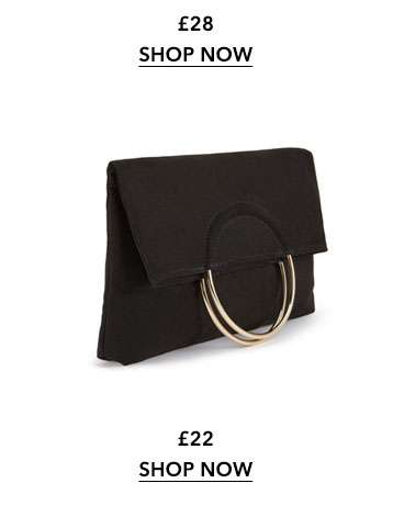 Black Metal Circle Fold Over Clutch Bag
