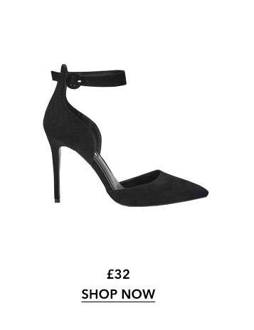 Black CLIO Ankle Strap Court Shoes