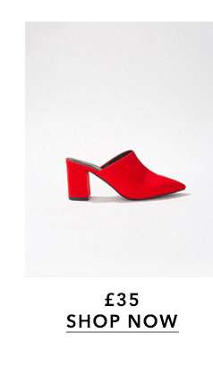 Red HALO Pointed Closed Mules
