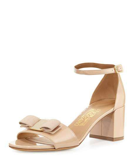 Gavina Bow Patent City Sandals, Bisque