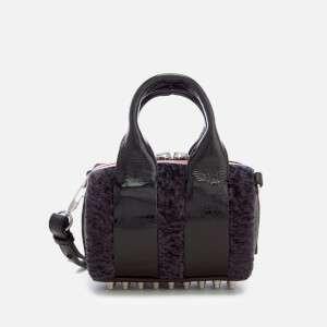 Alexander Wang Women's Baby Rockie Patent and Shearling Tote Bag - Grey Multi