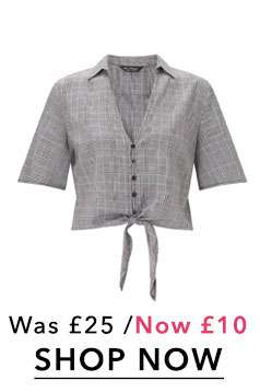 Grey Knot Front Checked Shirt