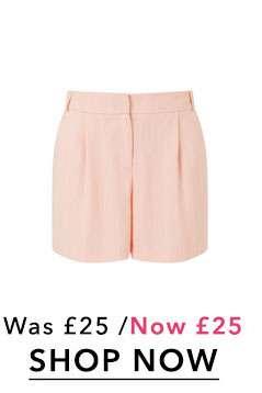 Pink Stripe Print Pleated Shorts