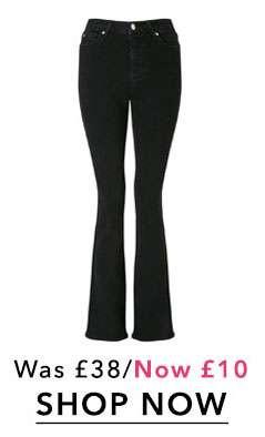 LIZZIE High Waist Skinny Black Flare Hem Jeans