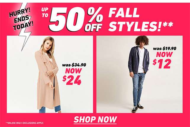 Up To 50% Fall Styles