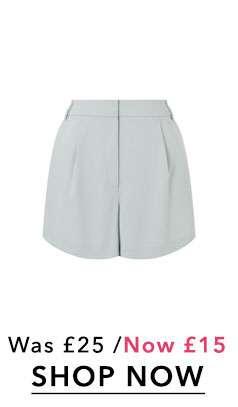 Pale Blue Pleat Shorts
