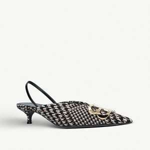BB 40 houndstooth-print slingback courts
