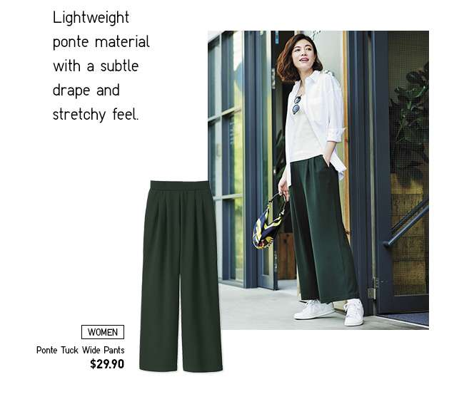 New! Women's Ponte Tuck Wide Pants at $29.90