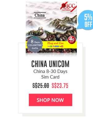 Shop Now: China Unicom China 8-30 Days Sim Card
