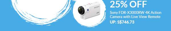 24 August: 25% Off Sony FDR-X3000RW 4K Action Camera with Live View Remote