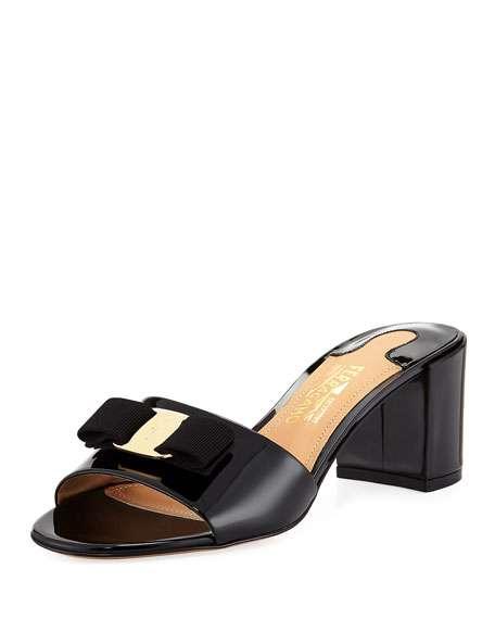 Eolie Patent Block-Heel Slide Sandals, Black