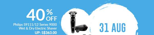 31 August: 40% Off Philips S9111/12 Series 9000 Wet & Dry Electric Shaver