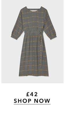 Checked D-Ring Midi Dress