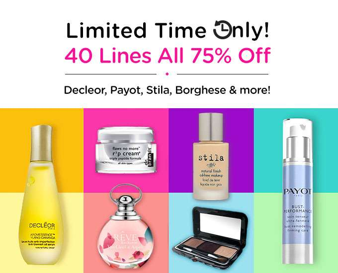 40 Lines All 75% Off! Decleor, Dermaheal, Stila, Jil Sander & more! Ends 27 Aug 2018