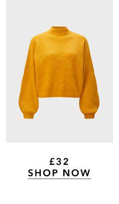 Ochre Soft Touch Funnel Neck Ribbed Jumper