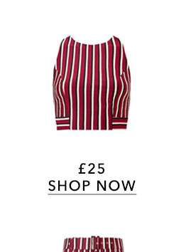 Burgundy Striped Tie Back Cropped Top