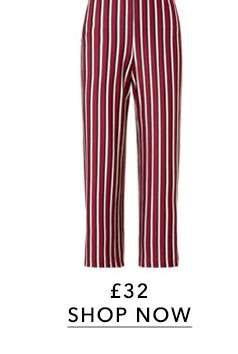 Striped Belted Wide Leg Trousers