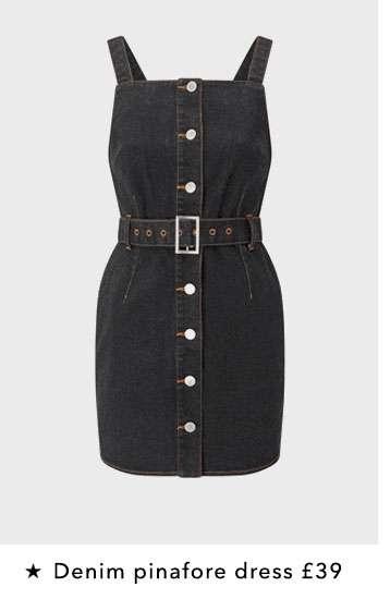 PETITE Black Denim Button Pinafore Dress