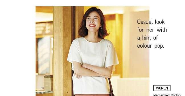 Women's Mercerized Cotton Short Sleeve T-shirt at $19.90
