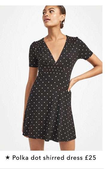 Polka Dot Shirred Dress