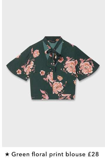 Green Floral Print Pussy Bow Blouse