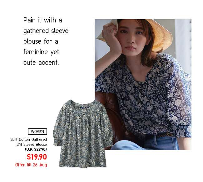 Limited Offer! Women's Soft Cotton Gathered 3/4 Sleeve Blouse at $19.90