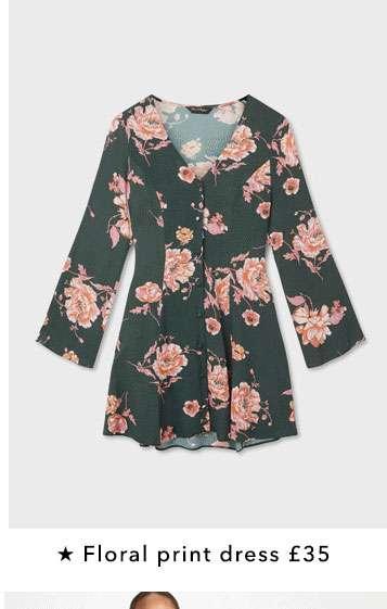 Button Through Floral Print Skater Dress