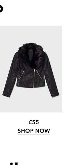 Black Faux Fur Trim Leather Look Biker