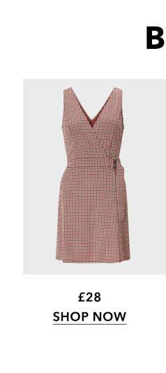 Rust D-Ring Check Pinafore Dress