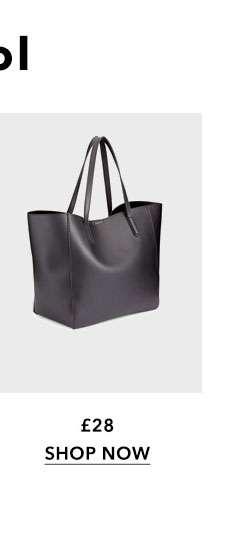 Black Oversized Unlined Tote Bag